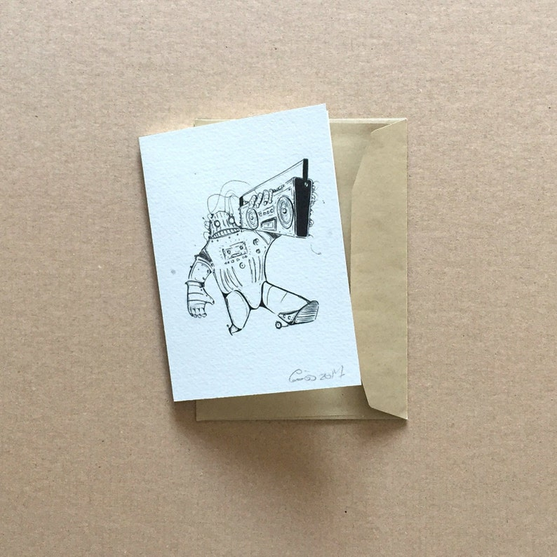 Illustrated Ghetto-Bot Greeting Card