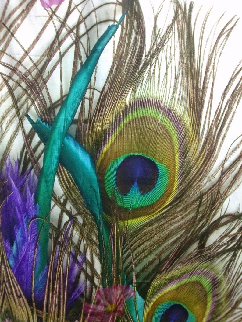 Fabric white large peacock feather fabric EXTRA LARGE piece 59x80 149x204cm Modern Cotton Fabric Scandinavian Design Scandinavian Textile