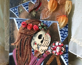 Skull gothic portrait mixed media painting - macabre fine art - halloween - day of the dead - horror - scary - fall autumn