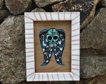 Day of the Dead mixed media original - Death's Head - skull art - macabre spooky horror Halloween