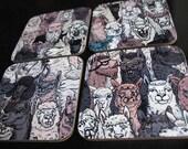 Alpaca square coasters, s...