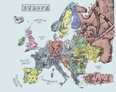 Illustrated map of Europe...