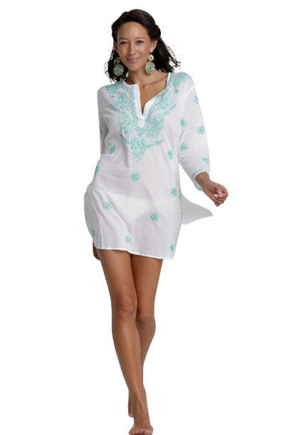 White Beach Kaftan Caftan, Beach Cover Up with Turquoise Hand Embroidery