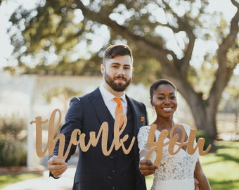 Thank You Sign, Wedding Photo Props for DIY Thank you Cards, Thank You Photo Prop Sign, Rustic Elegant, Bride & Groom Photography Decor