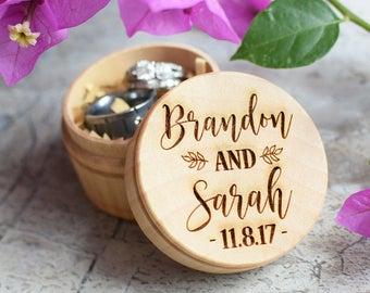 Custom Wedding Ring Box, Wooden Ring Box, Ring Bearer Box, Personalized Wedding Ring Box, Wedding Rings Holder, Rustic Ring Box
