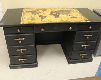 "Black Noir ""Map"" desk --GREAT for your Office!!"