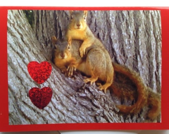 Squirrel Valentine Card - Cute Valentine Card - Adorable Valentine Card - Squirrel Love Valentine - Romantic Valentine Card - Whimsical Card