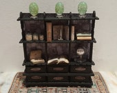 Miniature Library Antique, Dollhouse, Scale 1.12
