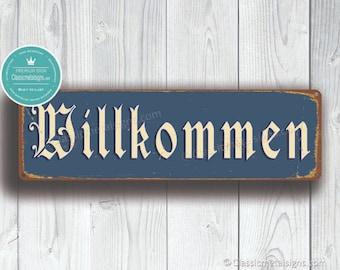 Door sign Willkommen handpainted with heart-pendant