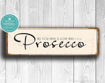 Retro Hanging Sign Wooden Gin /& Prosecco Street Style Shabby Vintage Wall Plaque