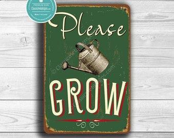 Attirant PLEASE GROW SIGN, Garden Signs, Vintage Style Garden Sign, Please Grow,  Garden Decor, Outdoor Signs, Outdoor Garden Signs, Potting Shed Sign