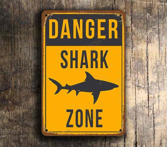 SHARK ZONE SIGN Shark Zone Signs Bar Signs Vintage style