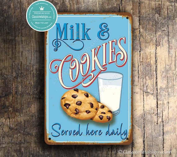 Milk And Cookies Sign Vintage Style Milk And Cookies Sign Customizable Personalized Milk And Cookies Sign Kitchen Decor Kitchen Signs