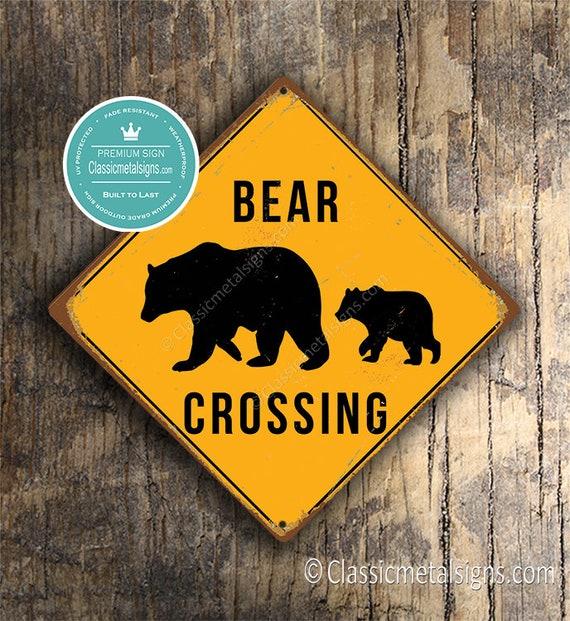 Bear Crossing Sign Bear Crossing Signs Bears Warning Bear Etsy
