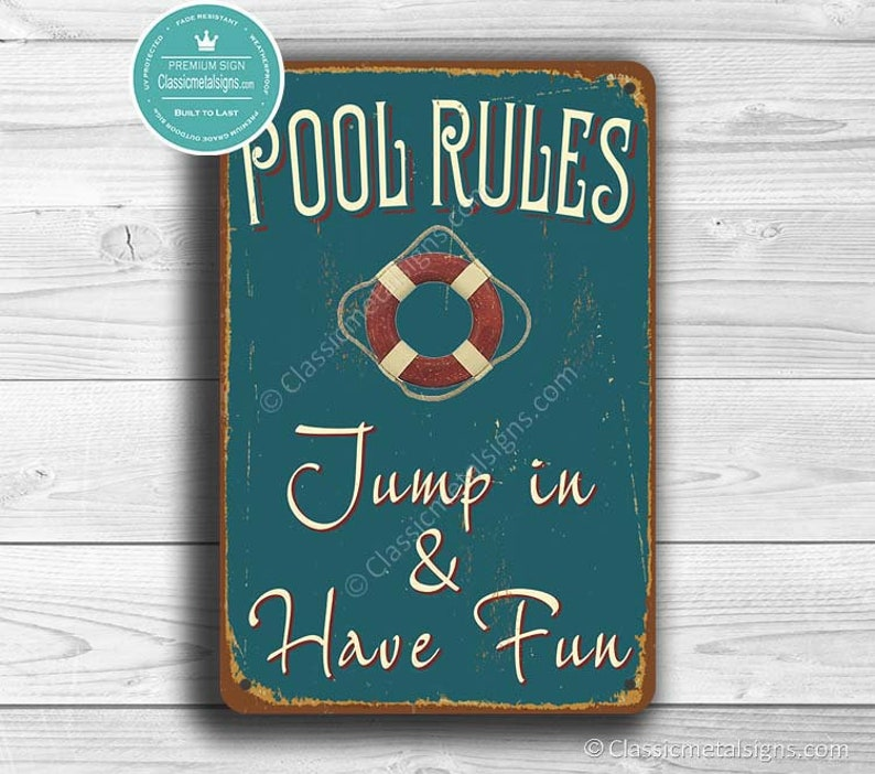 6407f2e8b2e0 POOL RULES SIGN Pool Signs Vintage style Pool Sign Swimming