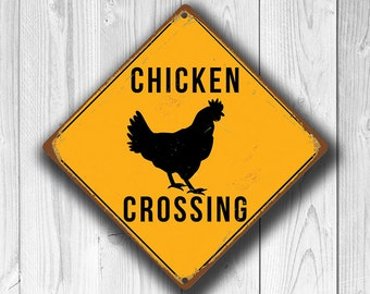 CHICKEN CROSSING SIGN - Chicken Crossing Signs, Warning Chicken Crossing, Chicken Signs, Chicken Coop Decor, Chicken Xing, Yellow Sign