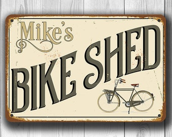 CUSTOM BIKE SHED Sign, Personalized Bike Shed Sign, Vintage style Bike Shed Sign, Customizable Signs, Custom Outdoor Sign, Bike Shed Signs