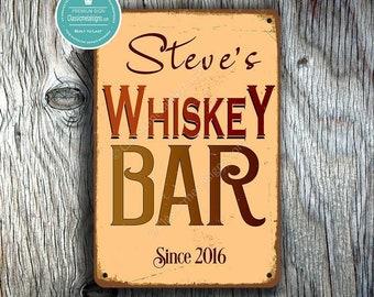 CUSTOM WHISKEY BAR Sign, Personalized Whiskey Sign, Vintage style Whiskey Bar Sign, Customizable Signs, Custom Whiskey Sign, Whiskey Signs