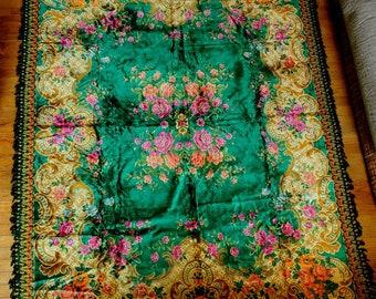 Vintage Velvet Rug, Bedspread, Wall Hanging Green Floral 1940's Vintage Velvet Bedspread with Tassels