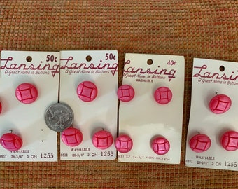 Vintage Buttons. Vintage pink Lansing Buttons.