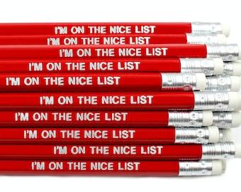 Naughty Or Nice List Pencil - Christmas Eve Box - Advent Calendar Fillers - Stocking Fillers Stuffers - Nice Letter Elf - Secret Santa Gift