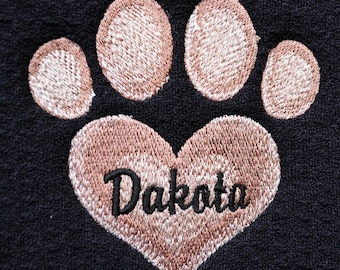 PERSONALIZED Pet Placemat - Embroidered Heart Paw Print - Pet Feeding Mat  - Dog Feeding Mat - Machine Wash/Dry - Dog or Cat - Very Durable