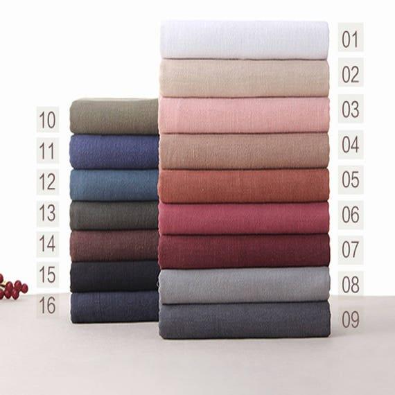 142 cm 56 inch width solid soft linen cotton fabric half etsy. Black Bedroom Furniture Sets. Home Design Ideas