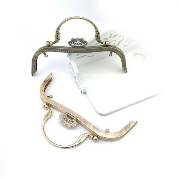 1 PCS, 27 cm / 9 inch Width, Antique Bronze Light Golden Silver Crown Shape  Kiss Clasp Lock Purse Frame for Purse Bag DIY