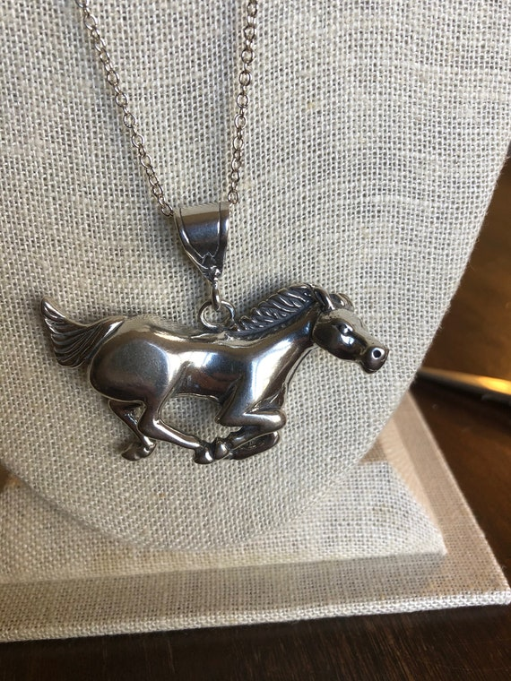 Vintage Southwestern Sterling Silver Horse Pendant Necklace #4079