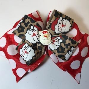 Leopard Santa 8 inch hair bow
