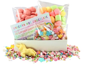 Unicorn Hot Chocolate Kit - Unicorn Lover - Stocking Filler - Unicorn Party  MIlk Chocolate - Birthday Christmas Easter Gift Box
