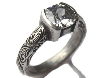 Rockin Out Jewelry - Malorie - Sterling Silver Statement - Classy Western Ring - 8mm Cushoin Cut - Elegant Gift For Her - Valentines Jewelry