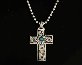 Rockin Out Jewelry - Saddle Tooled Turquoise Cross Necklace - Sterling Silver Classy Cross - Western Jewelry - Valentines Necklace - Unisex
