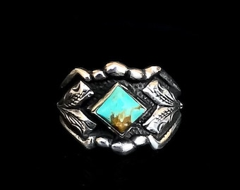 Rockin Out Jewelry - Turquoise Jade Ring - Sterling Silver - Western Rings - Turquoise Ring - Gift For Her - Antiqued - Valentines Gift
