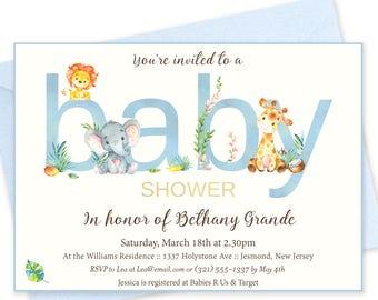 Blue Baby Shower Invitations - Elephant Baby Shower - Printable Invitation - Blue Elephant Baby Shower Invites - Jungle Friends Invitation