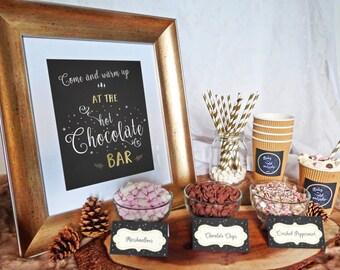 Hot Chocolate Bar Printable Set - Hot Cocoa Party - Cocoa Bar - Winter Party - Baby Shower - Wedding - Birthday, Printable Hot Chocolate Bar