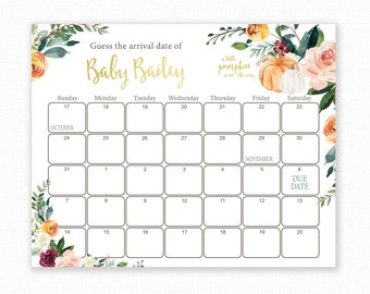 Guess The Due Date, Autumn Baby Shower Game, Baby Shower Birthday Prediction, Printable Baby Shower Due Date Calendar Game, A little pumpkin