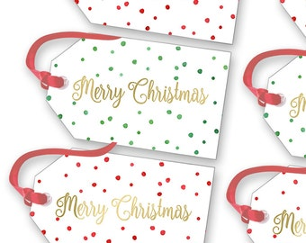 Printable Christmas Tags - Merry Christmas Gift Tags - Tags - Set of 2 Red and Green Christmas Tags - Holiday Gift Tags