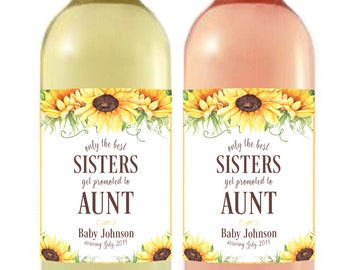 Pregnancy Announcement - Baby Announcement Wine Bottle Label - Custom Wine Label - Floral Baby Shower Favor - Sisters promoted to Aunt