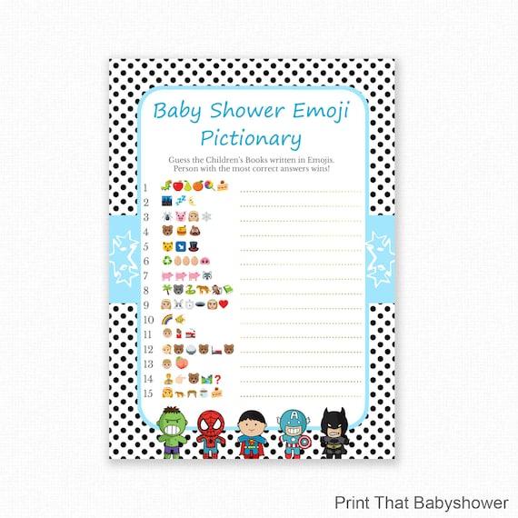 Baby Shower Game Superhero Baby Shower Emoji Pictionary