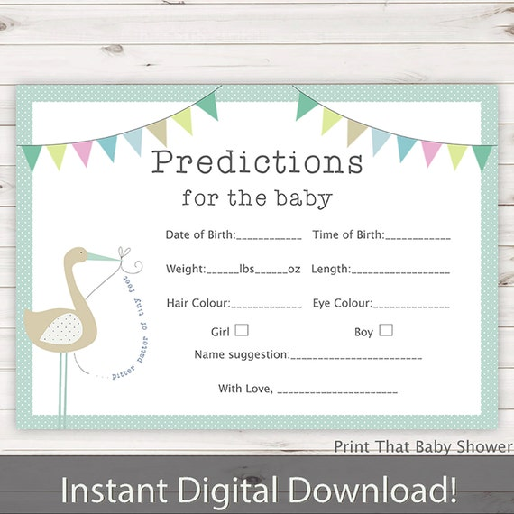 Baby Shower Games - Baby Predictions Game - Baby Predictiction Card - Bunny  and Stork Shower Games - Prediction Card - Blue Bunny and Stork