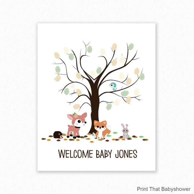 Baby Shower Fingerprint Guest Book Woodland Baby Shower Etsy