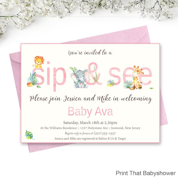 sip and see invitation elephant giraffe sip and see baby sip and
