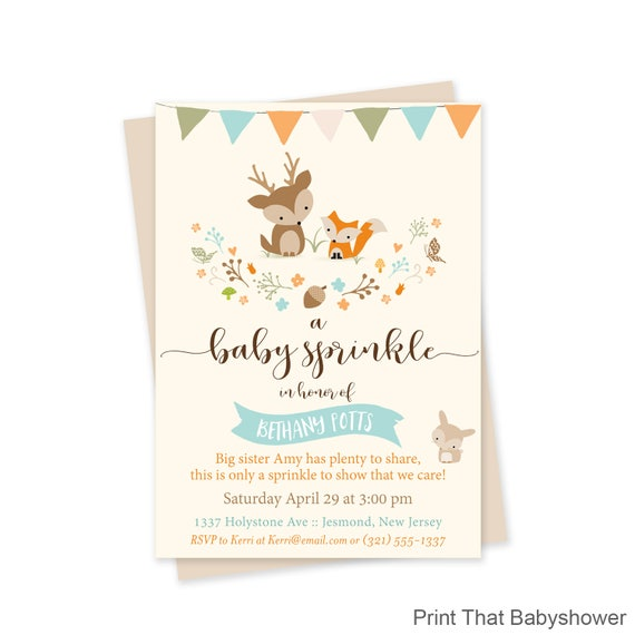 woodland baby sprinkle invitations woodland baby sprinkle