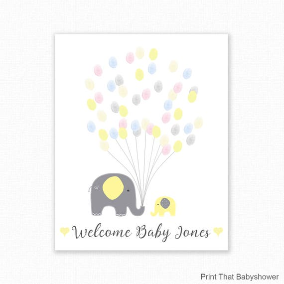 Baby Shower Fingerprint Tree Printable With Instruction Card