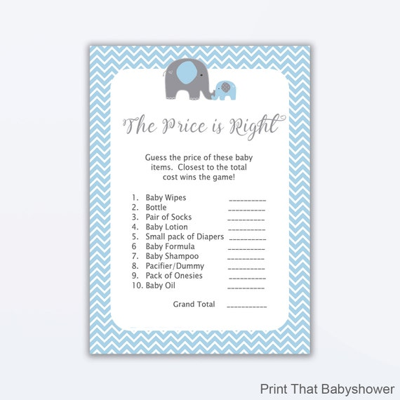 graphic about Price is Right Baby Shower Game Free Printable identified as The Cost is Specifically Boy or girl Shower Sport - Blue Elephant Child