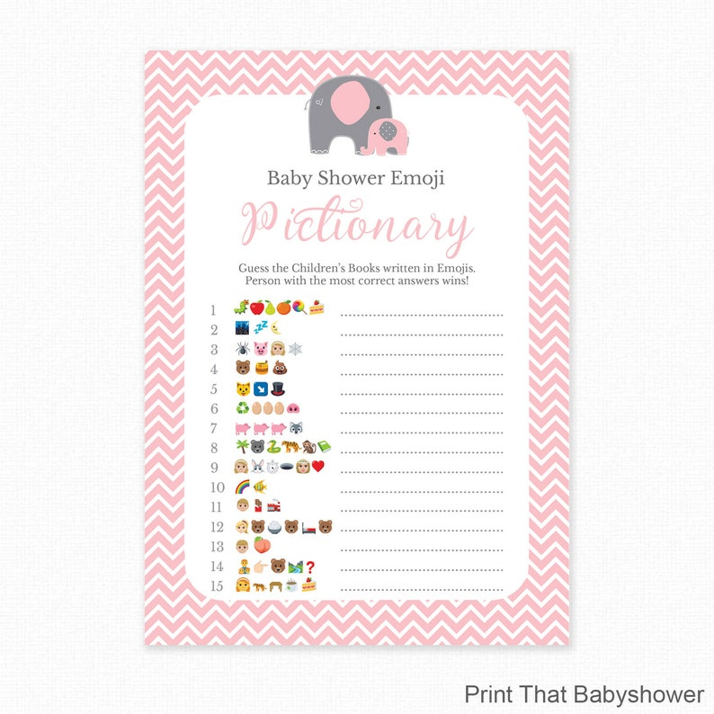 picture regarding Printable Emoji Games called Kid Shower Activity - Crimson Boy or girl Shower - Emoji Pictionary - Red Elephant Little one Shower Printable - Little one Shower Emoji Activity - Purple Elephant