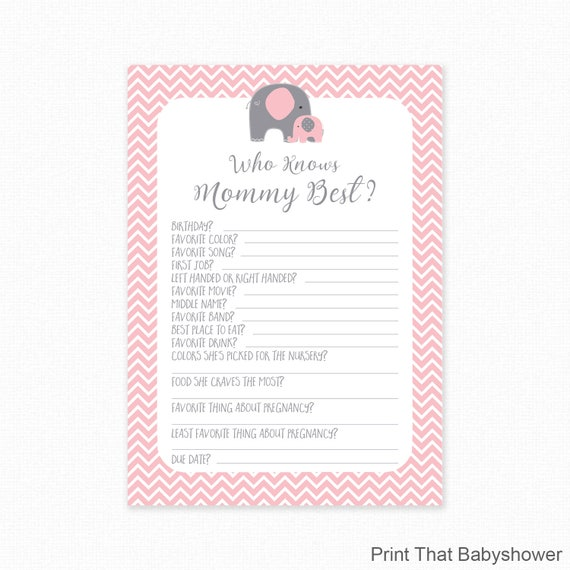 image relating to Who Knows Mommy Best Printable identified as Crimson Elephant Little one Shower Who Understands Mommy Perfect Printable