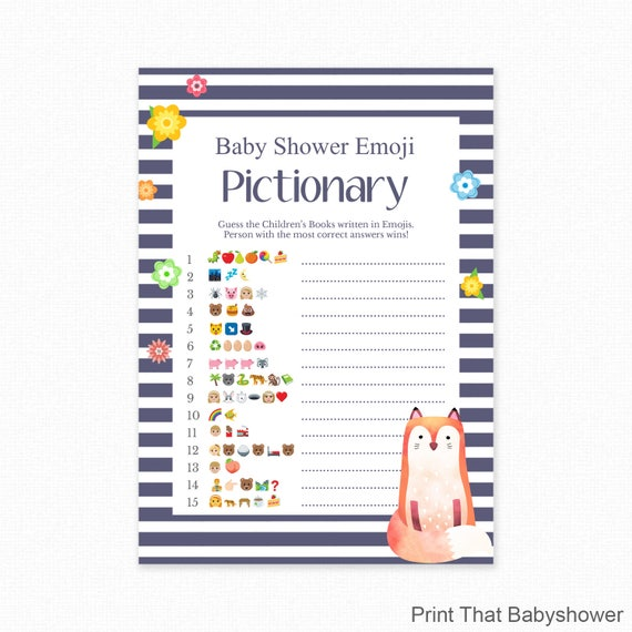 graphic about Free Printable Baby Shower Games With Answers referred to as Little one Shower Sport - Fox Shower - Emoji Pictionary - Fox Youngster