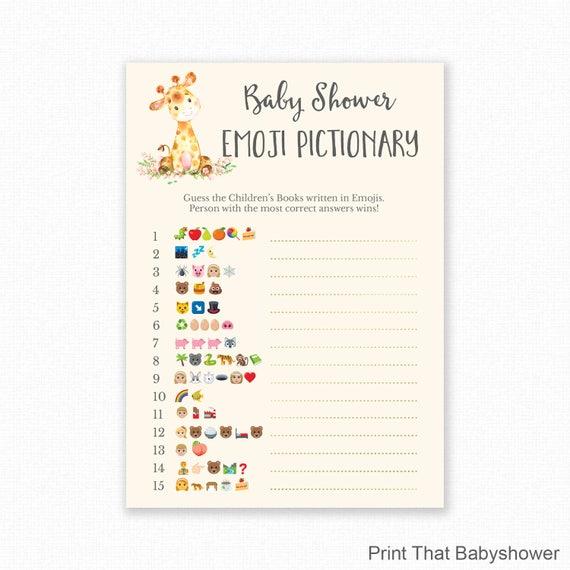 Baby Shower Games - Giraffe Baby Shower - Emoji Pictionary ...